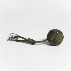 Llavero Nudo y Bola Verde Militar